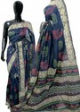 Hand Block Printed Chanderi Silk Saree, 6.3 M (with Blouse Piece)