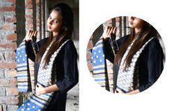 Blue & White Printed Chanderi Dupatta