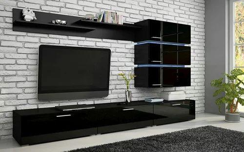Modern Tv Unit In Black High Gloss