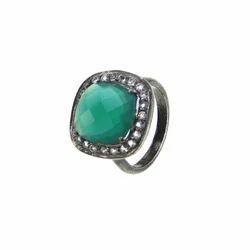 Green Onyx CZ Set Gemstone Ring