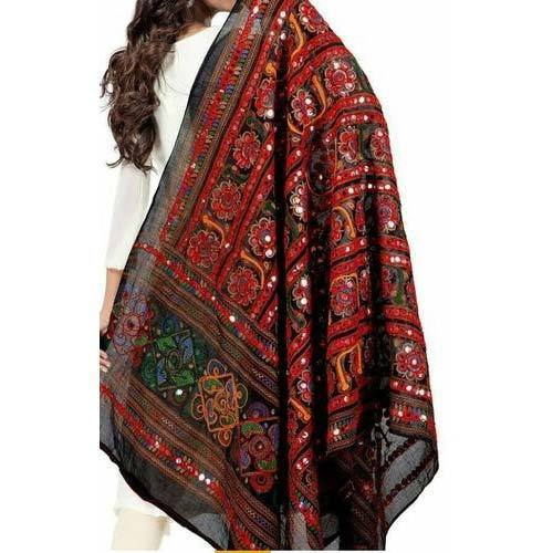 Cotton Embroidered Foil Mirror Work Traditional Dupatta