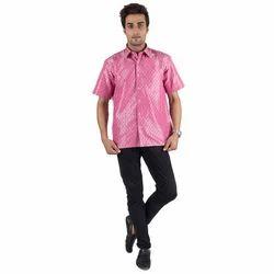 Pink Silk Jacquard Shirt