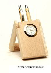 Wooden Pen Stand With Clock ( Double)