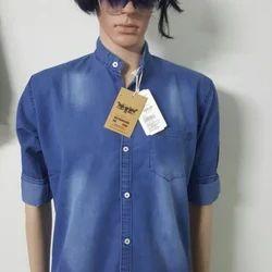 Plain Blue Mens Branded Denim Shirts