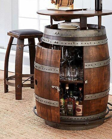 Modern Antique Reclaimed Wine Barrel Table With Wine