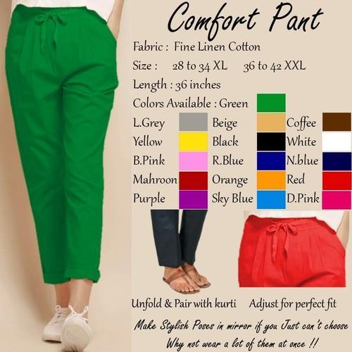 5e07548dab Ladies Linen Cotton Green Comfort Pant, Waist Size: 28 To 34, Rs 200 ...