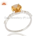 925 Sterling Silver Birthstone Solitaire Engagement Ring Jewelry