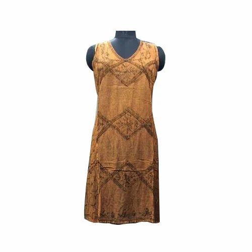 Brown Acid Wash Dress