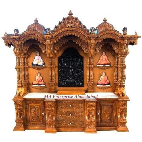 Hand Carved Teak Wood And Africam Ghana Teak Big Wooden Temple With Base  Cabinet Drawers