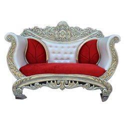 Red And White Decorative Wooden Sofa, Size: Double Seater, for Wedding Hall
