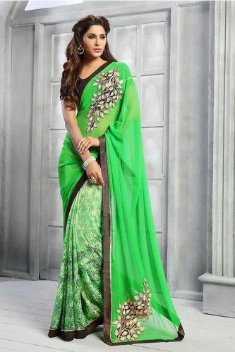 ec8fa2892 Priya Fashion Printed Designer Green  Light Green Saree ...