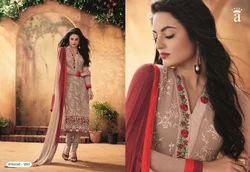 Beige Grey Embroidered Fancy Salwar Suit