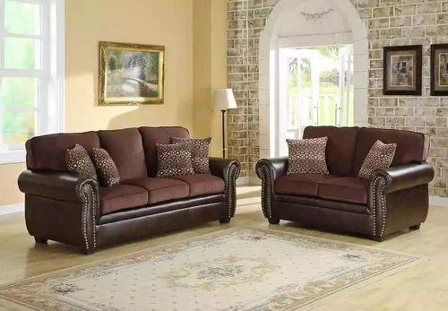 Shanil Wood Fabric Leather Sofa Set