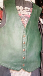Green Leather Sleeveless Jacket