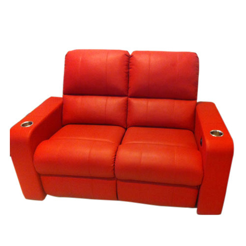 Red Two Seater Recliner Sofa With Cupholders