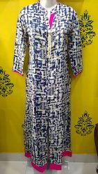 Rayon A-line Kurti with Front Cut