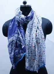 EGSC00031 Paisley Print with Contrast Pom Pom Lace Scarf
