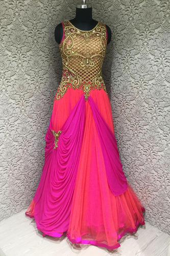17b1ec72e6ca08 Spectacular Pink And Rani Net Designer Readymade Gown at Rs 14995 ...