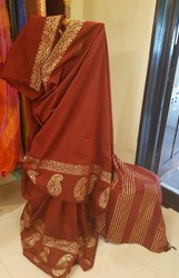 Poly silk Gold Printed saree