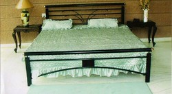 Black rushabh steel Steel Double Bed