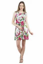 Medium Short Dress Printed Cotton Short