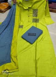 Ladies Green and Grey Designer A-Line Suits