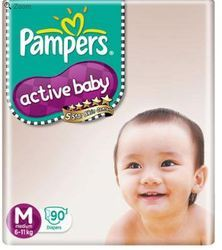 Pampers Active Baby Diapers Medium 90 Pieces