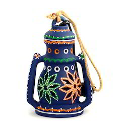 ExclusiveLane 8 Inch Terracotta Hanging Cum Table Handpainted Lantern In Blue