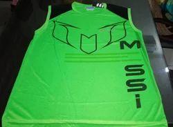 Round Printed Polyester Sleeveless T Shirt, Size: Large
