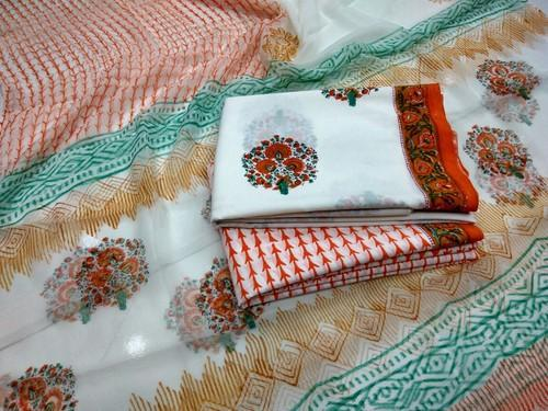 Printed Party Wear Bagru Cotton Suit, Gsm: 50-100
