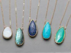 Gemstone Pear Shape Bezel Set Necklace