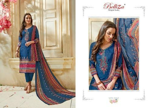 2eb8a6205e Ams Party Wear Soft Printed Lawn Cotton Dress Material With Chiffon Lace  Dupatta, Bottom Size