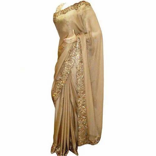 9c78fab27d Golden Embroidery Saree at Rs 15000 /piece | Embroidery Work Saree ...