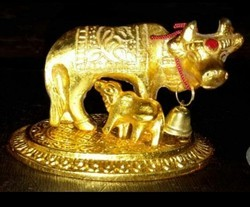 Golden Metal Statue Kamdhenu Cow And Calf