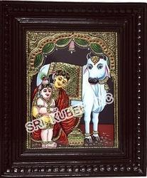 Baby Krishna with Gomadha Tanjore Paintings
