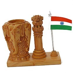 Ashoka Stambh Pen Stand With Flag Wc132