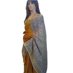 Yellow Madhubani Cotton Plain Saree