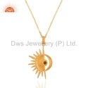 Gold on 925 Silver Sun and Moon Design Chain Pendant