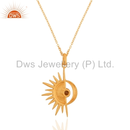 Dws designer gold plated silver rising moon pendant rs 2240 piece dws designer gold plated silver rising moon pendant mozeypictures Choice Image