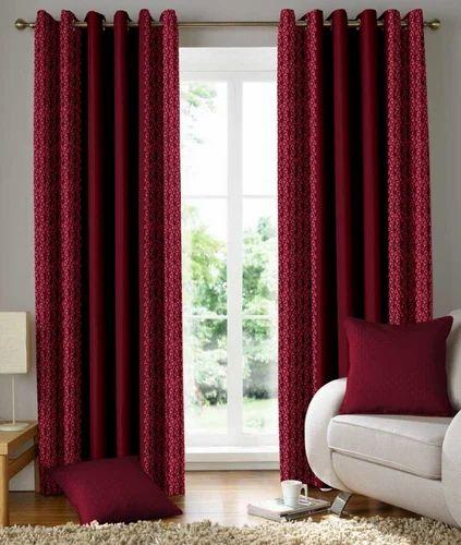 Designer Heavy Maroon Printed Door Window Curtain