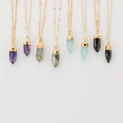 Gemstone Tiny Spike Pendant Necklace