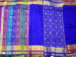 Blue Half and Half Patola Saree with Blouse Piece, Saree Length: 5.5 m