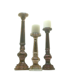 Antique Pillar Candle Holder Set