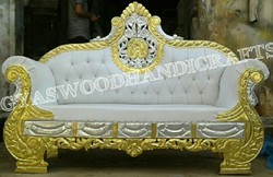 Wooden & Metal Two Seater Sofa