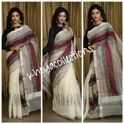 Cotton Block Print On Kerala Saree