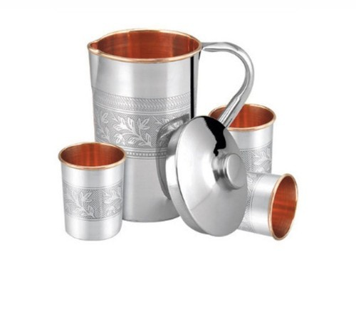 Stainless Steel Copper Jug & Glass Set