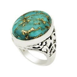 SHRI0043 Natural American Turquoise Silver Ring