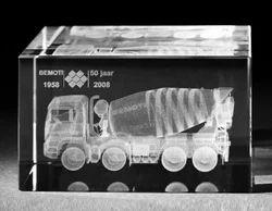 3D Laser Engraved Truck Crystal Cube