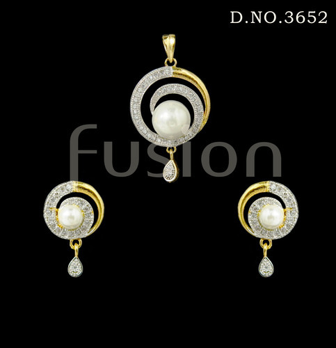 American diamond antique pendant set at rs 175 piece antique american diamond antique pendant set aloadofball Gallery
