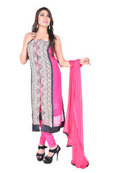 Georgette Pink & Black Embroidered Semi-Stitched Salwar Suit